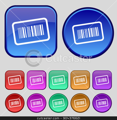 Barcode icon sign. A set of twelve vintage buttons for your design. Vector stock vector clipart, Barcode icon sign. A set of twelve vintage buttons for your design. Vector illustration by Serhii