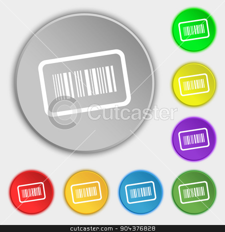 Barcode icon sign. Symbol on eight flat buttons. Vector stock vector clipart, Barcode icon sign. Symbol on eight flat buttons. Vector illustration by Serhii