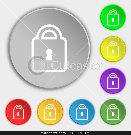 Lock icon sign. Symbol on eight flat buttons. Vector stock vector clipart, Lock icon sign. Symbol on eight flat buttons. Vector illustration by Serhii