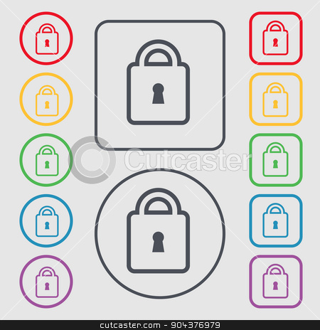 Lock icon sign. symbol on the Round and square buttons with frame. Vector stock vector clipart, Lock icon sign. symbol on the Round and square buttons with frame. Vector illustration by Serhii