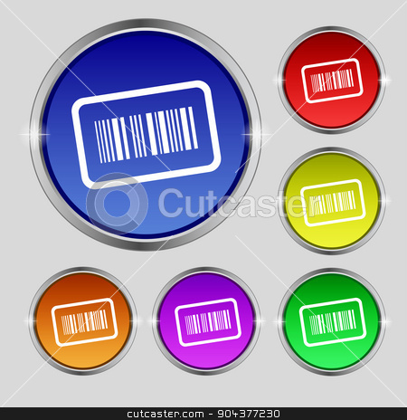 Barcode icon sign. Round symbol on bright colourful buttons. Vector stock vector clipart, Barcode icon sign. Round symbol on bright colourful buttons. Vector illustration by Serhii