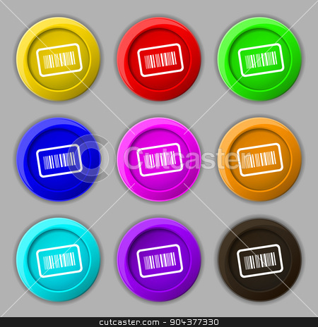 Barcode icon sign. symbol on nine round colourful buttons. Vector stock vector clipart, Barcode icon sign. symbol on nine round colourful buttons. Vector illustration by Serhii