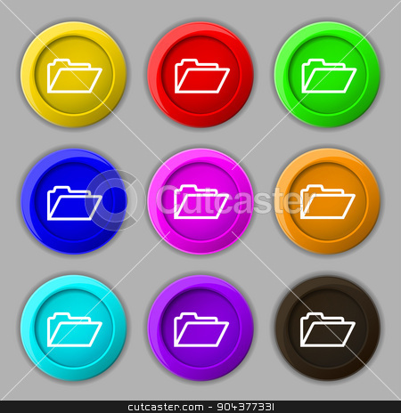 Folder icon sign. symbol on nine round colourful buttons. Vector stock vector clipart, Folder icon sign. symbol on nine round colourful buttons. Vector illustration by Serhii