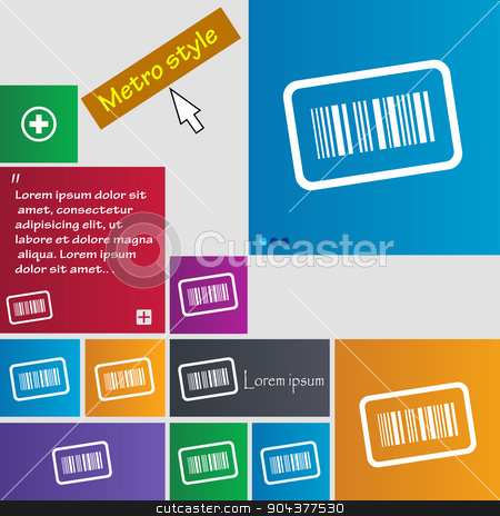 Barcode icon sign. buttons. Modern interface website buttons with cursor pointer. Vector stock vector clipart, Barcode icon sign. buttons. Modern interface website buttons with cursor pointer. Vector illustration by Serhii