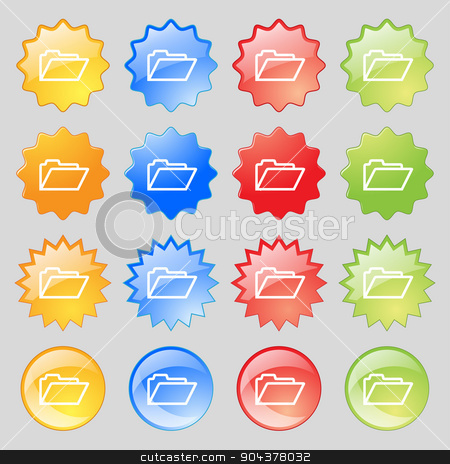 Folder icon sign. Big set of 16 colorful modern buttons for your design. Vector stock vector clipart, Folder icon sign. Big set of 16 colorful modern buttons for your design. Vector illustration by Serhii