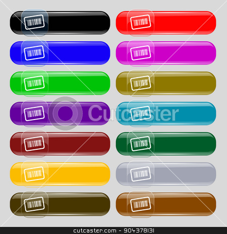 Barcode icon sign. Set from fourteen multi-colored glass buttons with place for text. Vector stock vector clipart, Barcode icon sign. Set from fourteen multi-colored glass buttons with place for text. Vector illustration by Serhii