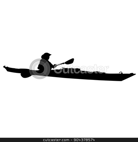 Kayak stock vector clipart, A black silhouette of a woman in a long kayak by Maria Bell