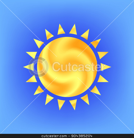 Sun Icon stock vector clipart, Sun Icon Isolated on Blue Sky Background by valeo5