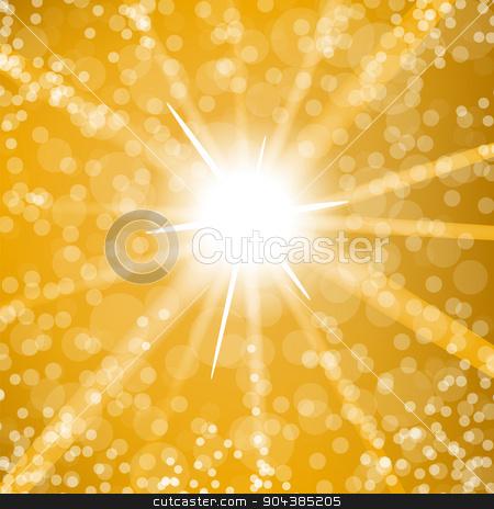 Sun Burst stock vector clipart, Summer Sun Burst Background. Hot Sun on Blurred Background by valeo5
