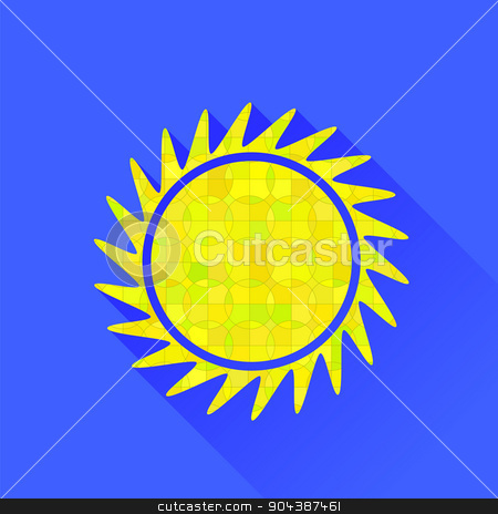 Sun Symbol stock vector clipart, Sun Symbol Isolated on Blue Background. Long Shadow by valeo5