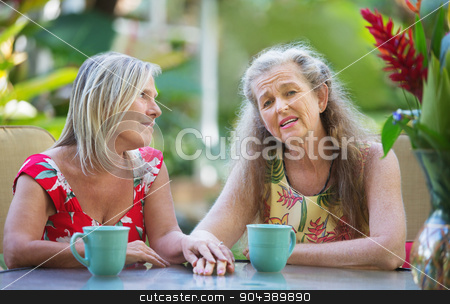 Concerned Friend Holding Hands stock photo, Concerned woman comforting a depressed friend outdoors by Scott Griessel