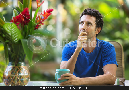 Man in Blue Wondering stock photo, Single adult man in blue outdoors thinking about something by Scott Griessel