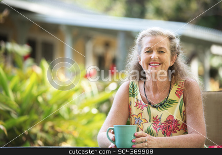 Happy Person Relaxing Outdoors stock photo, Single Caucasian adult female sitting outdoors in Maui by Scott Griessel