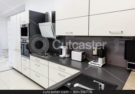 Modern hi-tek kitchen, clean interior design stock photo, Modern luxury hi-tek black and white kitchen interior, clean design by Serghei Starus