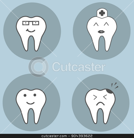 teeth set. Dental collection for your design. Vector cartoons. Illustrations for children dentistry. stock vector clipart, Happy teeth set. Dental collection for your design. Vector cartoons. Illustrations for children dentistry. by T-flex