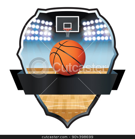 Basketball Emblem Badge Illustration stock vector clipart, An illustration for a basketball, court, and hoop emblem. Vector EPS 10 available. EPS file contains transparencies and gradient mesh. by Jason Enterline