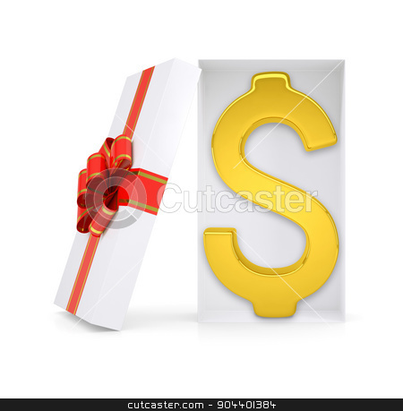Dollar symbol in gift box stock photo, Dollar symbol in gift box with ribbon on isolated white background by cherezoff