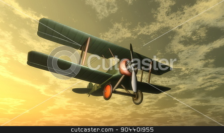 Biplane by sunset - 3D render stock photo, Biplane flying in the sky by sunset - 3D render by Elenarts