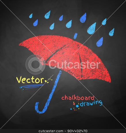 Color chalked umbrella. stock vector clipart, Color chalked vector illustration of rain drops and red umbrella. by Sofya Golovanova