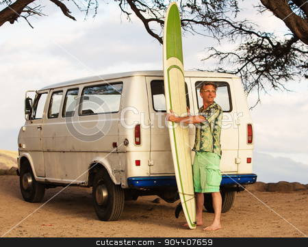 Surfer with Van and Surfboard stock photo, Grinning male surfer with surfboard and van on beach by Scott Griessel