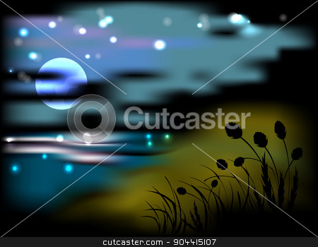 Night landscape with moon and stars stock vector clipart, Night landscape with moon and stars. EPS10 vector illustration. by volartman