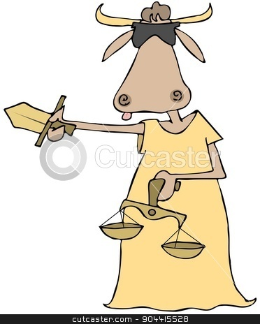 Cow lady justice stock photo, This illustration depicts a blindfolded cow dressed in a gown holding a sword and the scales of justice. by Dennis Cox