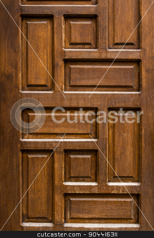 Ottoman Style Wooden House Door stock photo, Detail of Ottoman style traditional wooden Turkish house door by OZMedia