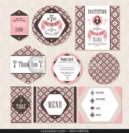 Set of vintage wedding cards stock vector clipart, Set of vintage wedding cards vector illustration by SelenaMay