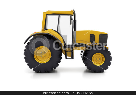 Farm tractor stock photo, Farm tractor on a white background by Alex Varlakov