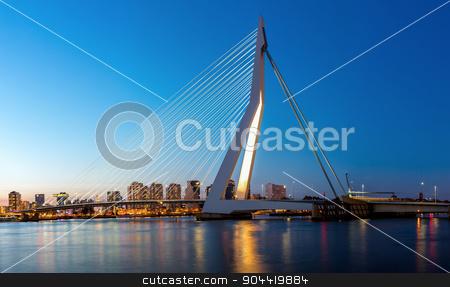 Erasmus bridge Rotterdam panorama stock photo, Panorama Erasmus bridge over the river Meuse in , the Netherlands by Vichaya Kiatying-Angsulee