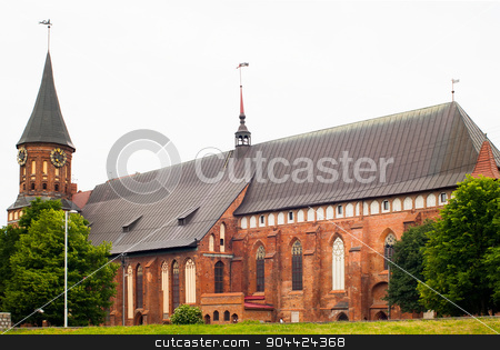 cathedral in kaliningrad stock photo, Kaliningrad, Russia - June 21, 2010: Cathedral Church on Kant island in Kaliningrad, UNESCO World Heritage Site. by Aikon