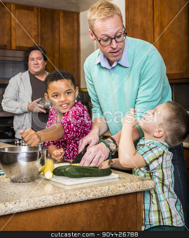 Same Sex Couple with Kids in Kitchen stock photo, Gay couple preparing a meal with children in kitchen by Scott Griessel