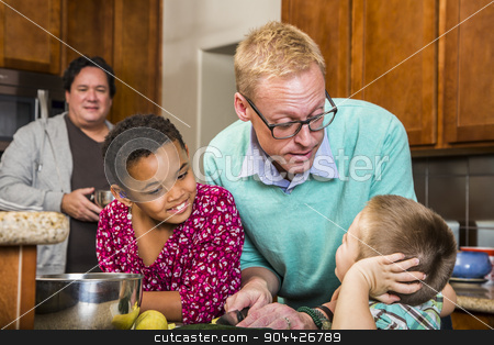 Male Couple and Kids in Kitchen stock photo, Gay men preparing a meal with children in residential kitchen by Scott Griessel