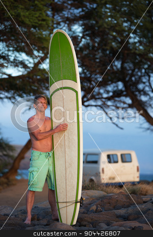 Man with Surfboard and Van stock photo, Determined single man holding surfboard near van on beach by Scott Griessel