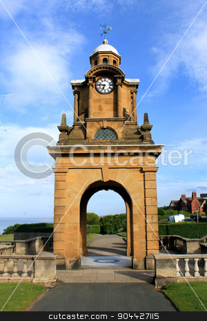 South Cliff Clock tower stock photo, South Cliff historic clock tower in Scarborough, North Yorkshire, England. by Martin Crowdy