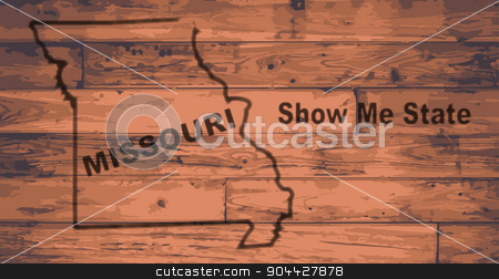 Missouri Map Brand stock vector clipart, Missouri state map brand on wooden boards with map outline and state moto show me state by Kotto