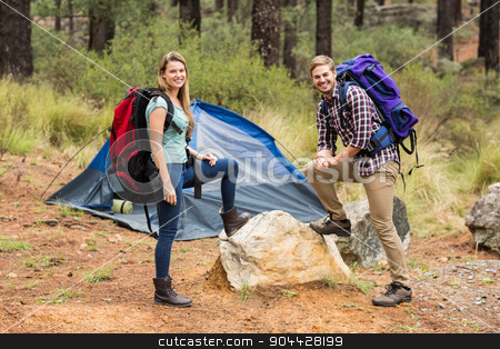 Portrait of a young pretty hiker couple stock photo, Portrait of a young pretty hiker couple in the nature by Wavebreak Media