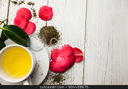 Cup of herbal tea on table stock photo, Cup of herbal tea on table shot in studio by Wavebreak Media