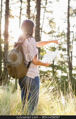 Brunette hiker with map pointing far away stock photo, Brunette hiker with map pointing far away in the nature by Wavebreak Media