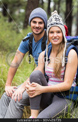 Portrait of a young smiling hiker couple stock photo, Portrait of a young smiling hiker couple in the nature by Wavebreak Media