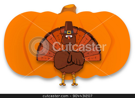 Thanksgiving stock vector clipart, Thanksgiving turkey and pumpkin over a white background by Kotto