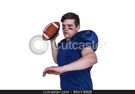 American football player throwing the ball stock photo, American football player throwing the ball on white background by Wavebreak Media