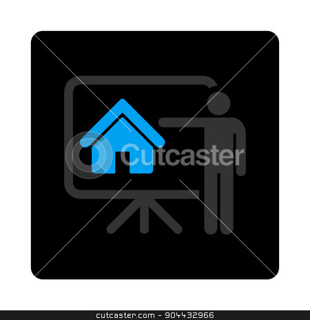 Realtor icon stock photo, Realtor icon. Glyph style is bicolor flat symbol, gray and light blue colors, black rounded square button, white background. by ahasoft