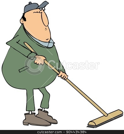 Man using a push broom stock photo, This illustration depicts a man wearing coveralls and using a push broom. by Dennis Cox