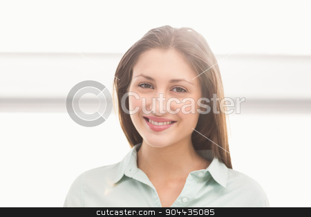 Pretty casual businesswoman smiling stock photo, Portrait of pretty casual businesswoman smiling in the office by Wavebreak Media