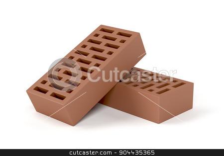 Two bricks stock photo, Two red clay bricks on white background by Mile Atanasov