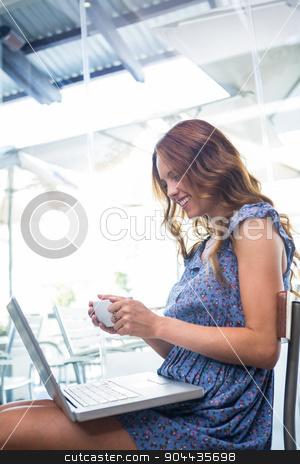 Pretty brunette using her laptop stock photo, Pretty brunette using her laptop in a coffee shop by Wavebreak Media