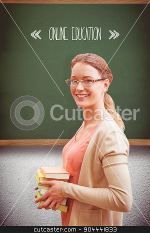 Online education against green stock photo, The word online education and teacher with books against green by Wavebreak Media