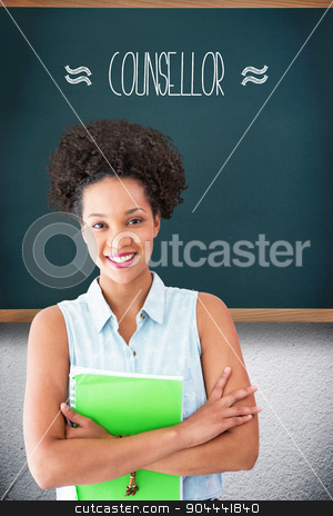 Counsellor against teal, blue stock photo, The word counsellor and portrait of smiling young woman with file against teal, blue by Wavebreak Media