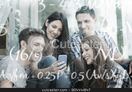 Composite image of maths equation stock photo, Maths equation against happy students looking at smartphone outside on campus by Wavebreak Media